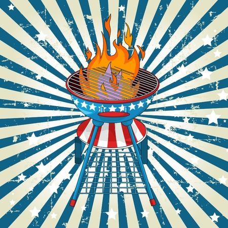 barbecue fire:  Patriotic grange radial barbeque background