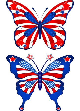 Beautiful butterflies in different colors representing USA