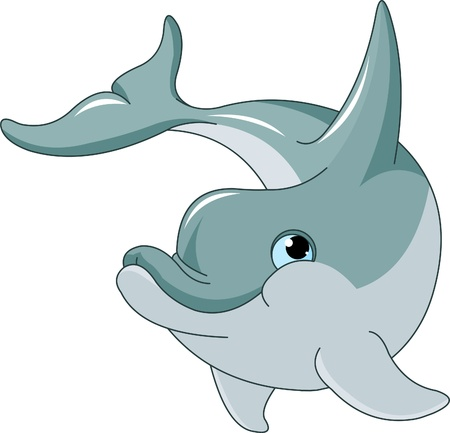 delfini: Nuoto Delfino isolato su sfondo bianco
