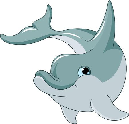 dolphin: Zwemmen Dolphin geïsoleerd op witte achtergrond