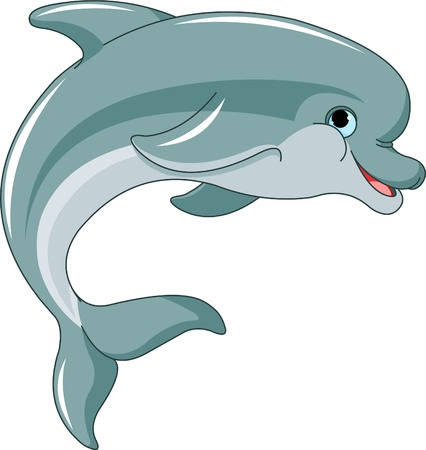 dolphin: Jumping  Dolphin isolated on white background Illustration