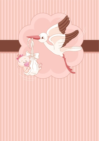 A place card of a stork delivering a newborn baby girl Vector