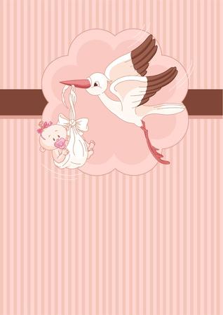 Une carte d'endroit d'une cigogne livrer une fille nouveau-né