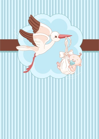 A place card of a stork delivering a newborn baby boy Vector