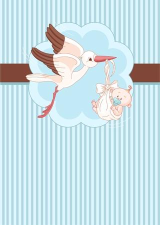 cigogne: Une carte d'endroit d'une cigogne offrir un petit gar�on n� Illustration
