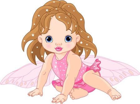 cute fairy: Illustration of sitting cute Baby fairy