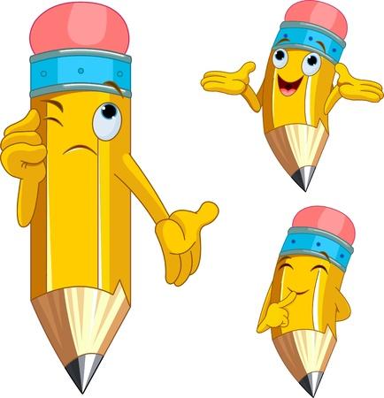 鉛筆の文字の異なる表情  イラスト・ベクター素材
