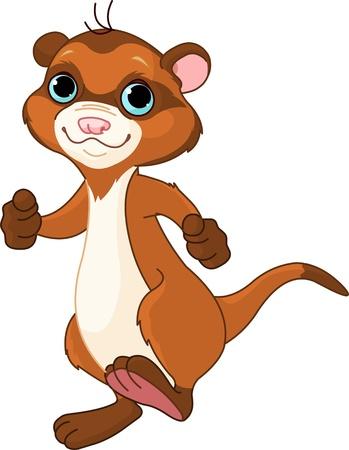 cute animal cartoon: Illustration of cute little walking ferret  Illustration
