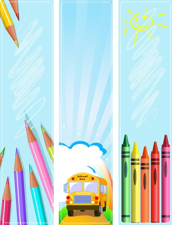 kinder garden: Illustrated set of three different Back  to school banners  Illustration