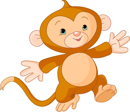 Illustration of Happy little Monkey skipping runs