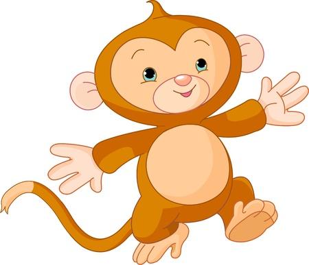Illustration of Happy little Monkey skipping runs