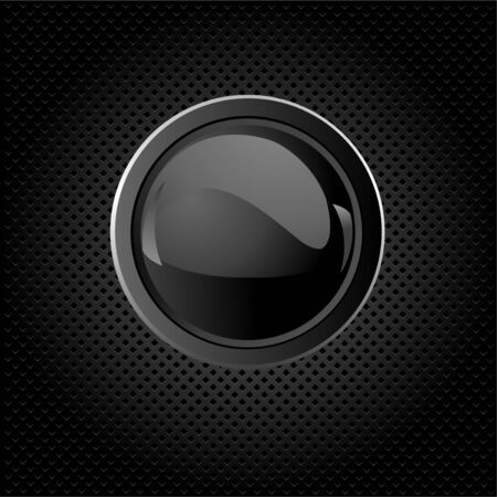 shiny metal background: Black texture background with  button Illustration