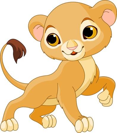 カブ: かわいいライオンの子、白い背景の勇敢な