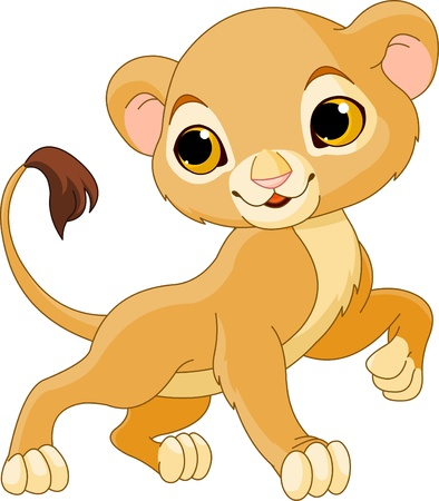 whisker:  Brave cute Lion Cub of a white background