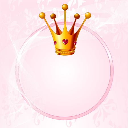 text pink: Pink background with crown for true princess