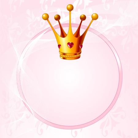 Roze achtergrond met kroon voor echte prinses