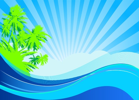 Summer themed beach illustration background with place for text Stock Vector - 9807612