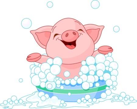 귀여운 새끼 돼지 목욕 일러스트
