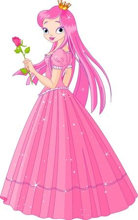 Illustratie van mooie roze prinses met roos