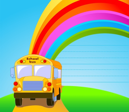 Back to school.  Yellow School Bus background Vettoriali