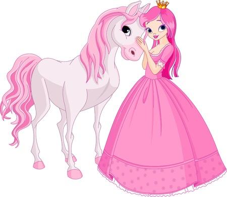 hadas caricatura: La hermosa princesa y su caballo lindo Vectores