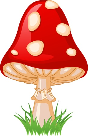 Illustration of Mushroom amanita in a grass 向量圖像