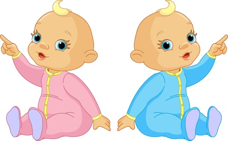 Two adorable babies - the girl and the boy pointing Stock Vector - 9930750
