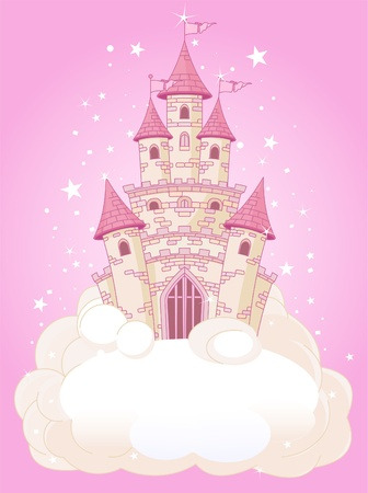castillos de princesas:  Ilustraci�n de un castillo rosado princesa de cuento de hadas en el cielo Vectores