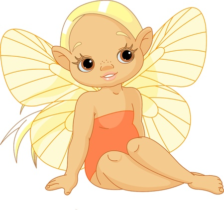 Illustration of Little sunny fairy sitting