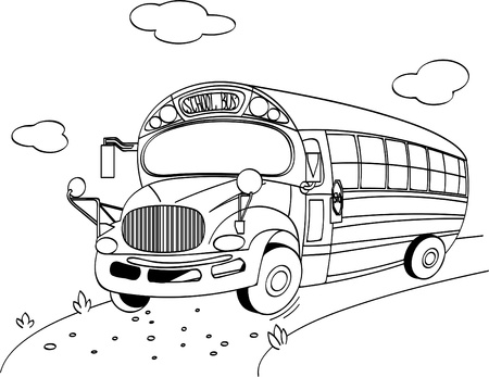stock clip art icon:  Coloring page of a  School Bus