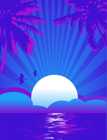 Summer themed tropical sea illustration background with place for text Illustration