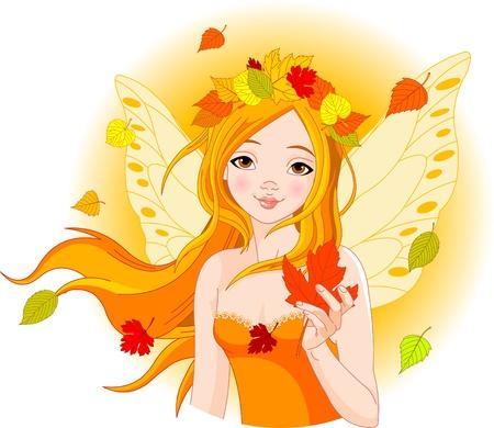 Иллюстрация красивая фея Осень с Maple Leaf
