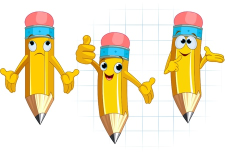 Pencil Character Different facial expressions and posing Vector
