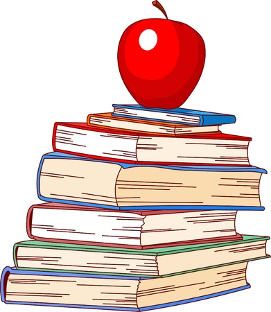 Pile book and red apple illustration, isolated on white background