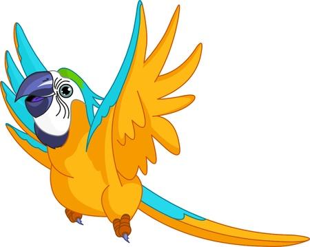 loro: Ilustración de loro feliz volando Vectores