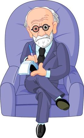 El Dr. Freud en una sesión de psicoterapia Ilustración de vector