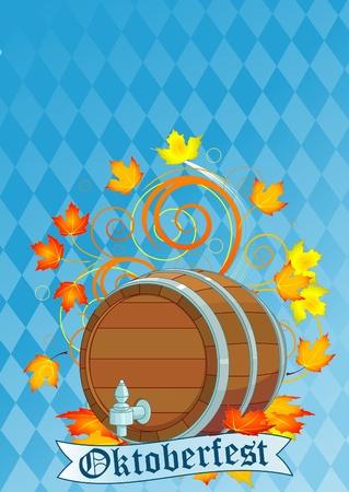 Decorative Oktoberfest design with beer keg  Vector