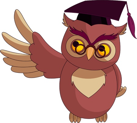Illustration of a cartoon wise owl with graduation cap  presenting Иллюстрация