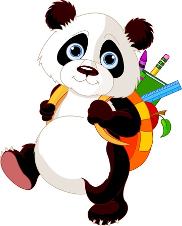 go back: Cute panda  on his way to school Illustration