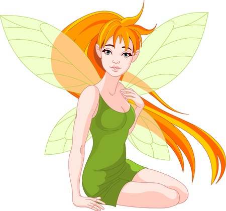 fantasy book:  Illustration of a sitting young fairy