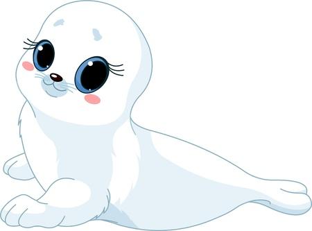 귀여운 아기 물개의 그림입니다.