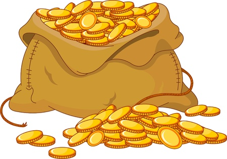 win money: Illustration of bag full of golden coin
