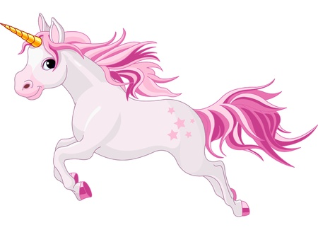 Illustration of beautiful running unicorn