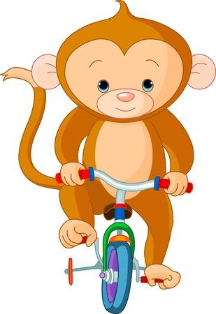 サーカスで自転車に乗って猿