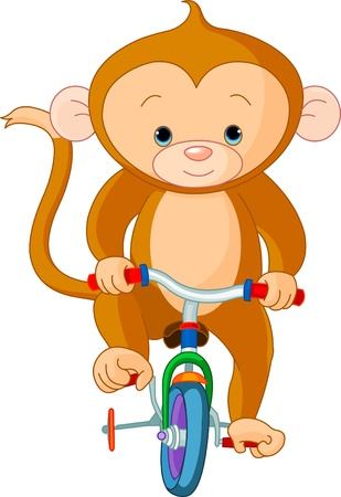 Monkey  on Bicycle in circus Vector