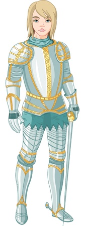 Picture of young knight holding a sword Stock Vector - 10102982