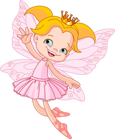 Cute fairy ballerina flying