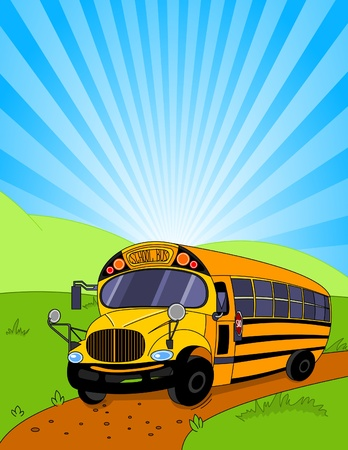 school icons:  Colorful background of a School Bus
