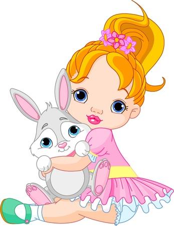 Schattig klein meisje knuffelen speelgoedkonijn Stock Illustratie