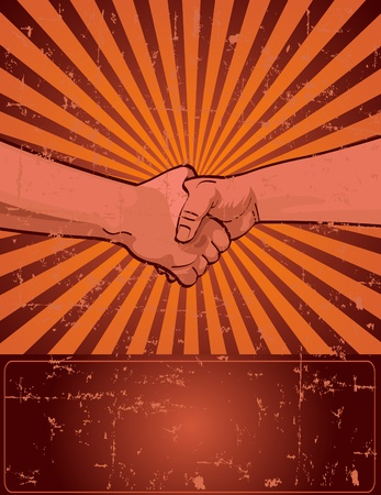 la union hace la fuerza: Dise�o para el d�a del trabajo con apret�n de manos de worker?s Vectores